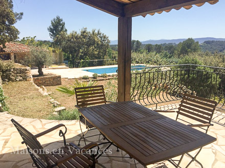 The terrace of the holiday rental Villa at Lorgues ,Var