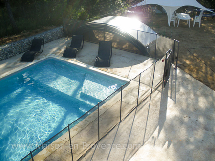 The swimming pool of the holiday rental Villa at Saint-Julien-de-Peyrolas ,Gard